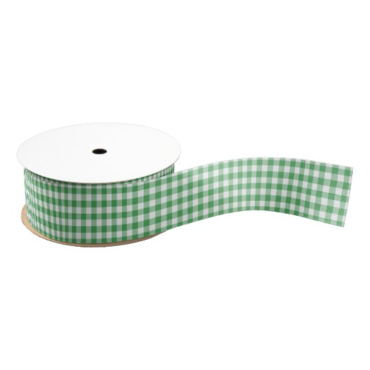 Kelly Green and White Gingham Pattern Ribbon Grosgrain Ribbon