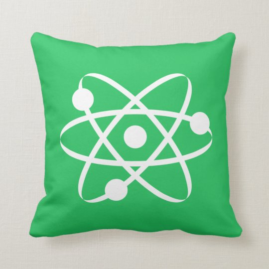 Kelly Green Atom Throw Pillow