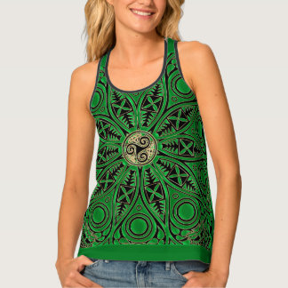 Kelly Green Celtic Mandala With Triskele Tank Top