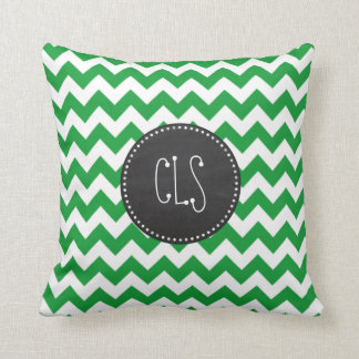Kelly Green Chevron Stripes; Chalkboard look Throw Pillow