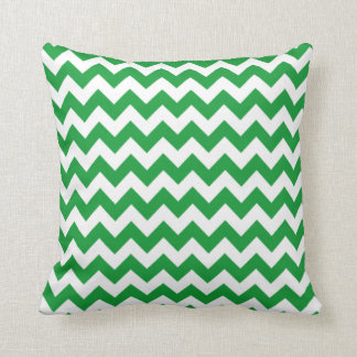 Kelly Green Chevron Stripes Throw Pillow