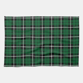 Kelly green Irish green white/black stripe plaid Kitchen Towel