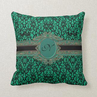 Kelly Green Irish Lace Custom Monogram Throw Pillow