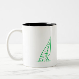 Kelly Green Sailing Two-Tone Coffee Mug