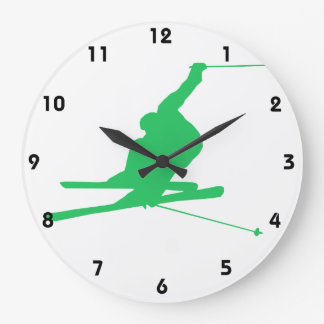 Kelly Green Snow Ski Large Clock