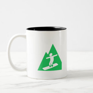 Kelly Green Snowboarding Two-Tone Coffee Mug