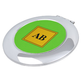 Kelly green solid color with monogram compact mirror