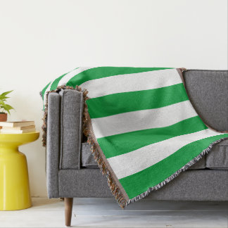 Kelly Green Stripes Pattern Throw Blanket