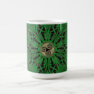 Kelly Green Triskele Mandala Coffee Mug