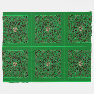 Kelly Green Triskele Mandala Fleece Blanket