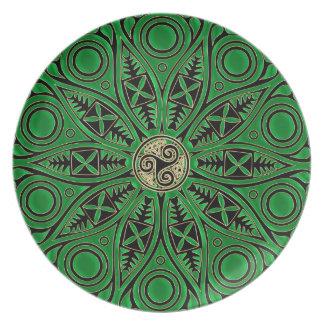 Kelly Green Triskele Mandala Party Plate