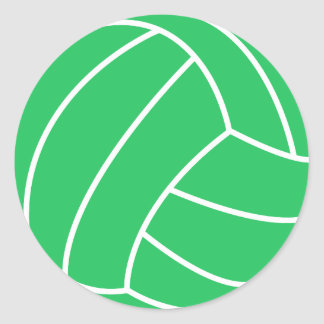 Kelly Green Volleyball Classic Round Sticker