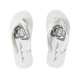 Kelly Jean Rose Thongs- Contemporary Black Rose Kid's Flip Flops