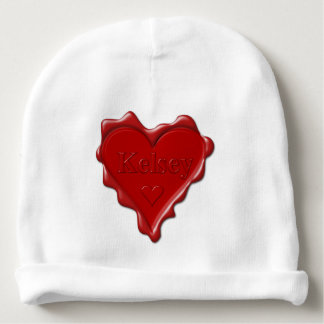 Kelsey. Red heart wax seal with name Kelsey Baby Beanie
