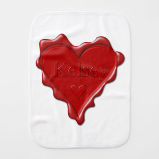 Kelsey. Red heart wax seal with name Kelsey Burp Cloth