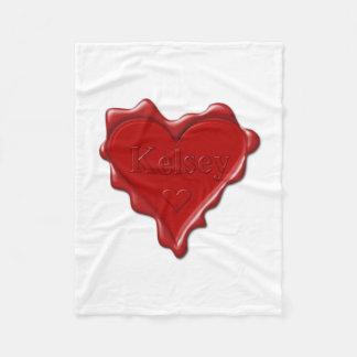 Kelsey. Red heart wax seal with name Kelsey Fleece Blanket