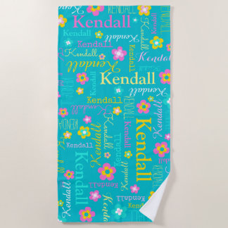 Kendall flowers name beach towel