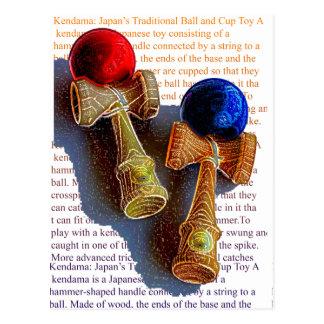 Kendama, Red and Blue Color Ink Sketch Postcard