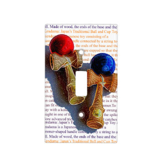 Kendama, Red and Blue Colour Ink Sketch Light Switch Cover