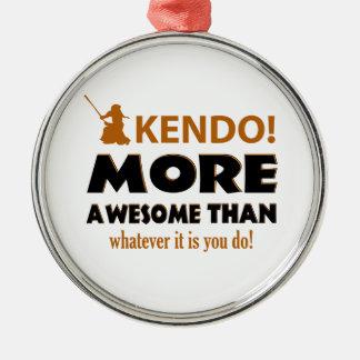 KENDO DESIGN Silver-Colored ROUND ORNAMENT