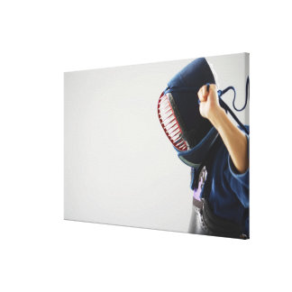 Kendo Fencer Fastening Mask Canvas Print