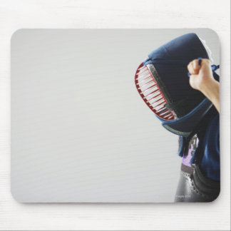 Kendo Fencer Fastening Mask Mouse Pad