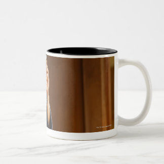 Kendo Fencer Resting Two-Tone Coffee Mug
