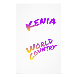 Kenia world country, colorful text art stationery paper