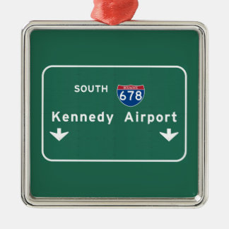 Kennedy Airport JFK I-678 NYC New York City NY Silver-Colored Square Ornament
