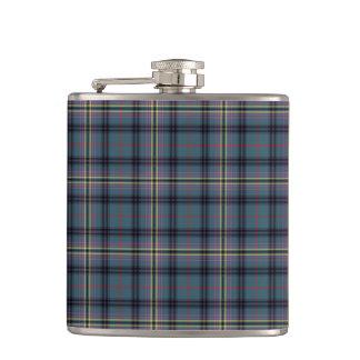 Kennedy Clan Ancient Tartan Teal Blue Plaid Flask
