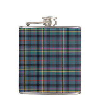 Kennedy Clan Ancient Tartan Teal Blue Plaid Hip Flask
