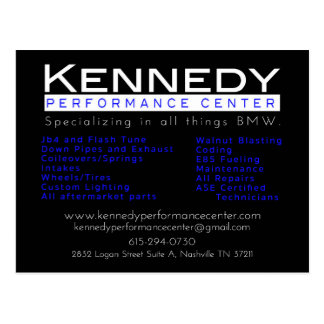 Kennedy Performance Center Services Card