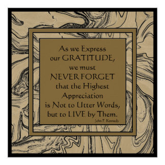 Kennedy quotation on gratitude poster