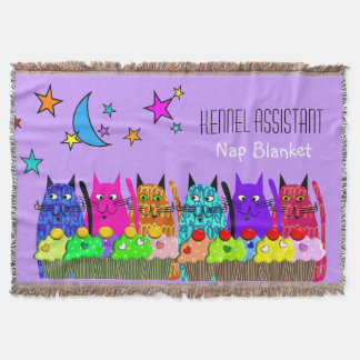 Kennel Assistant Woven Blanket Cats Purple Throw Blanket