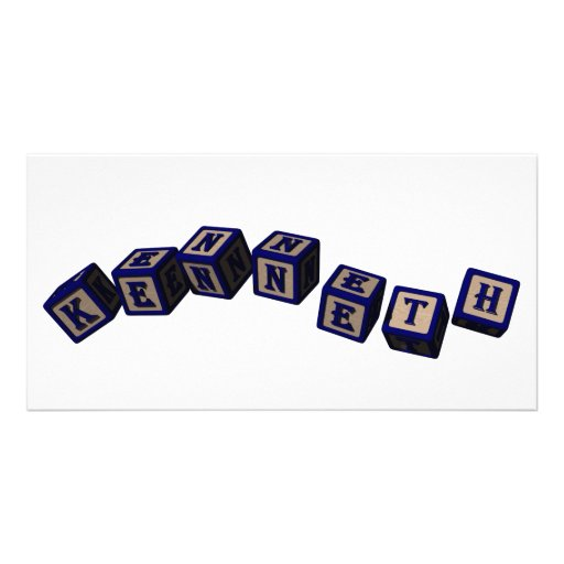 Kenneth Toy blocks in blue Photo Card Template