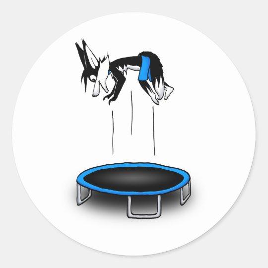 Kenny on trampoline classic round sticker