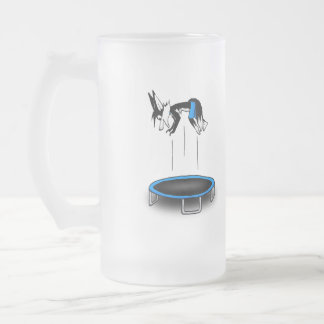 Kenny on trampoline frosted glass mug