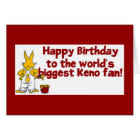 Keno cards: Happy Birthday Keno Fan Card