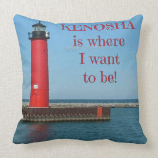 Kenosha, Wisconsin, Lighthouse, Lake Michigan Throw Pillow