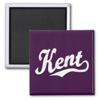 Kent script logo in white distressed square magnet