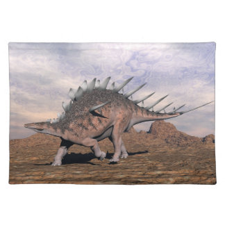 Kentrosaurus dinosaur in the desert - 3D render Placemat