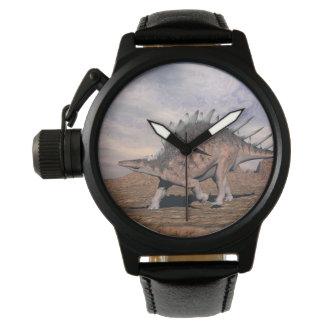 Kentrosaurus dinosaur in the desert - 3D render Wristwatch