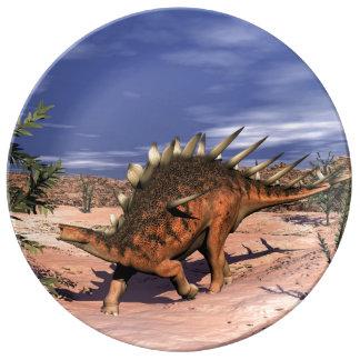 Kentrosaurus dinosaur porcelain plate