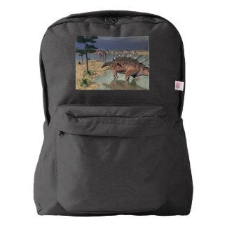 Kentrosaurus dinosaurs in the desert - 3D render Backpack