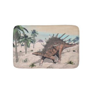 Kentrosaurus dinosaurs in the desert - 3D render Bath Mat