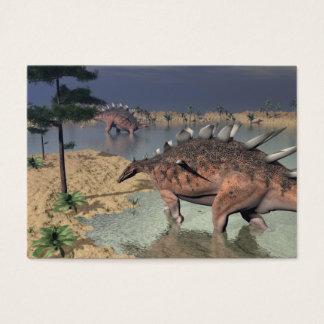 Kentrosaurus dinosaurs in the desert - 3D render Business Card
