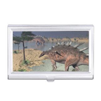 Kentrosaurus dinosaurs in the desert - 3D render Business Card Holder