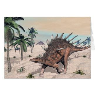 Kentrosaurus dinosaurs in the desert - 3D render Card