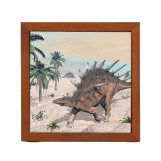 Kentrosaurus dinosaurs in the desert - 3D render Desk Organizer
