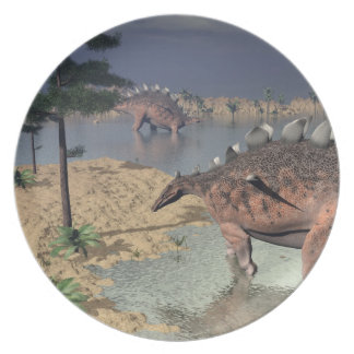 Kentrosaurus dinosaurs in the desert - 3D render Dinner Plates